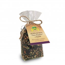 Wholegrain 'Nero Beppino' Rice soup with pulses