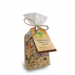 Wholegrain 'Vialone Nano' Rice soup with pulses